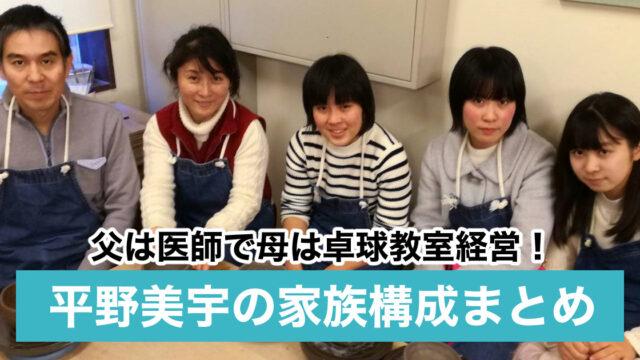 平野美宇の家族構成|父親は医師で母親は卓球教室経営の中国人?兄弟は妹2人!