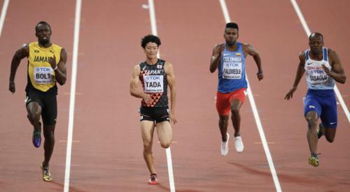 2017年世界選手権でウサイン・ボルト(左端)と走った多田修平