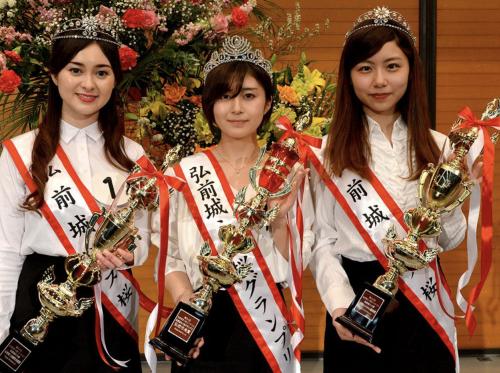 「ミス桜」に輝いた小山内鈴奈アナ(1番右)
