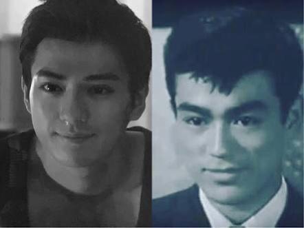 左:新田真剣佑 右:若い頃の千葉真一
