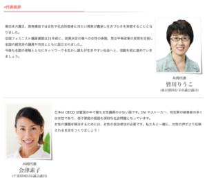 全国フェミニスト議員連盟のメンバー 皆川りうこ 会津恭子
