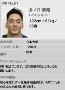 井ノ口忠男の息子 井ノ口清剛 アメフト選手
